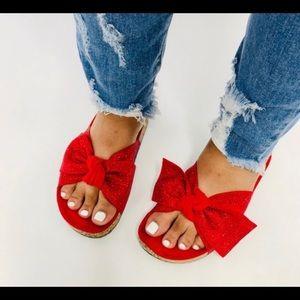 Red Embellished Bow Slide Sandals LAST PAIR!